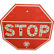 1940's Porcelain Enamel Steel Stop Sign with Cat Eye Reflectors