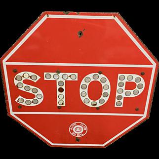 1940's Porcelain Enamel Steel Stop Sign with Cat Eye Reflectors