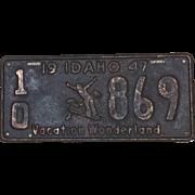 Vintage Idaho License Plate 1947 Vacation Wonderland Skier