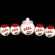 Hocking Vitrock 5 piece Range Set, Red Flower Pot Pattern