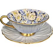Shelley Blue Daisy Chintz Cup & Saucer Oleander Shape