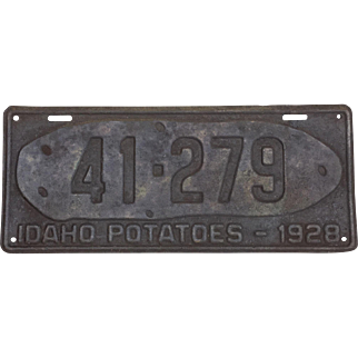 Vintage Idaho License Plate 1928 Idaho Potatoes