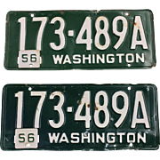Vintage Washington License Plates (Pair) 1954 1956