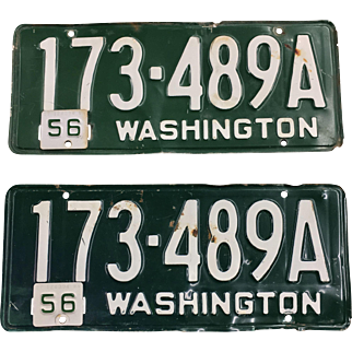 Vintage Washington License Plates (Pair) 1954 1956
