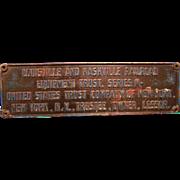 Cast Iron Louisville Nashville Railroad Plaque