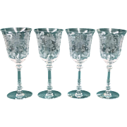 "Heisey Orchid Water Goblet 8 ¼"" Lot of 4"