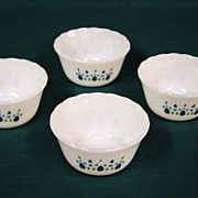 Fire King Swiss Alpine Chalet Custard Bowls Set of 4