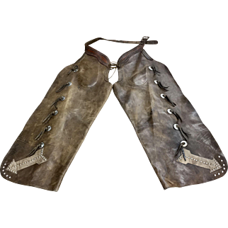 Batwing Cowboy Chaps, Marked Fred Mueller, Circa 1950s