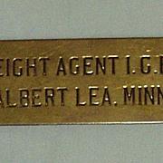 Illinois Central Railroad Freight Agent Cap Badge