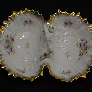 Victorian Porcelain Double Shell Bowl by Carl Tielsh, Germany