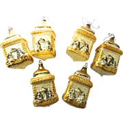 Rare Handblown Gold Mercury Glass House Vintage Christmas Tree Ornaments Set 6