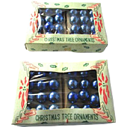 2 Rare Feather Tree Ornaments Boxed Set 48 Mercury Glass Blue Ball Miniature Vintage Christmas Ornaments