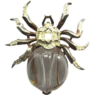 Rare Alfred Philippe Crown Trifari Jelly Belly Spider Fur Clip Brooch Sterling Silver Lucite