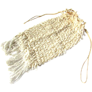 Art Deco Flapper Era Ecru Beaded Crocheted Evening Bag Drawstring Purse Downton Abbey Ecru Wedding