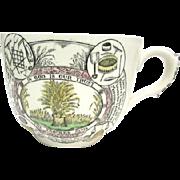 Adams English Staffordshire Ironstone Black Transferware Much Cup Large Mug The Farmer