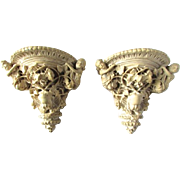 Lovely Carved Italian Plaster Cherub Angel Putti Wall Sconces Shelves - Red Tag Sale Item