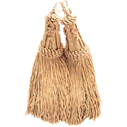Vintage French Silk Curtain Tie Back Tassels Pale Dusty Rose
