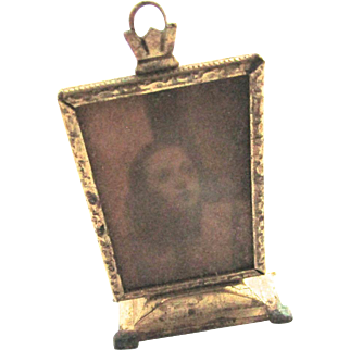 Antique Dollhouse Miniature Gilt Metal Standing Picture Frame with Screen Shot Starlet Photo Art Deco