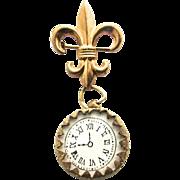 Rare French Doll Enamel Pocket Watch Fleur De Lis Pin Pink with Flowers Bebe or Poupee