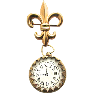 Rare French Doll Enamel Pocket Watch Fleur De Lis Pin Pink with Flowers Bebe or Poupee