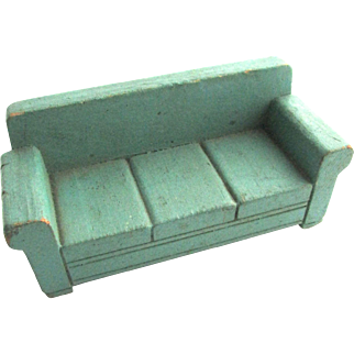 """Vintage Strombecker Dollhouse Green Sofa Couch 3/4"""" Scale"""