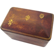 Italian Leather Card Case Box Hand Tooled Decorated Vintage
