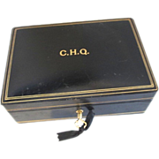 Italian Leather Black Mens Jewelry Box Case With Original Key Monogrammed