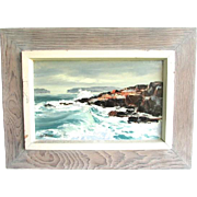 Syd Browne Original Oil Painting Seascape Nautical Surf with Shore Signed Original Driftwood Frame Maine American Artist