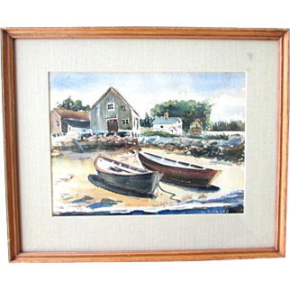 William Maynard Nautical Harbor Dory Scene Watercolor Painting Provincetown Massachusetts Artist American