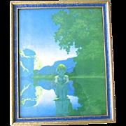 Original Maxfield Parrish Evening Lithograph Print 1922 Original Blue Frame