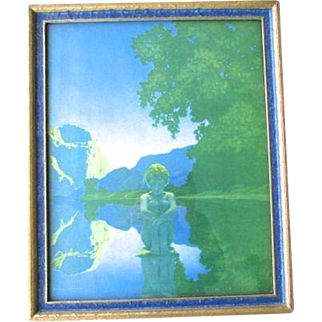 Original Maxfield Parrish Evening Lithograph Print 1922 Original Blue Frame