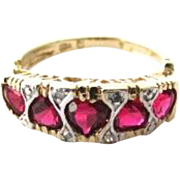 Reduced Beautiful Heart Shape Ruby Diamond 10k Gold I Love You Message Ring
