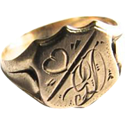 9ct Rose Gold Shield Shape Signet Ring Monogram GD With Engraved Heart