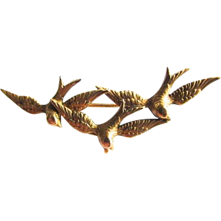 French Swallow Trio Bird Watch Pin Brooch 18K Gold Filled Fix