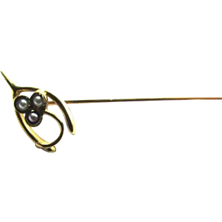 14K Gold Seed Pearl Wishbone Stick Lapel Pin 3 Leaf Clover