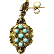 14K Gold Etruscan Revival Turquoise Dangle Single Earring