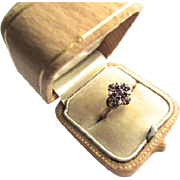 Victorian 14K Rose Gold Amethyst Seed Pearl Cluster Ring Size 5