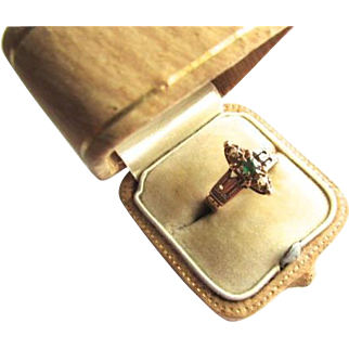 Victorian 10K Rose Gold Demantoid Green Garnet Seed Pearl Ring Size 6