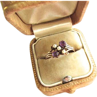 Victorian 14K Rose Gold Amethyst Pearl Doublet Ring