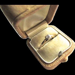 14K Yellow Gold Diamond Art Deco Engagement Promise Ring Size 6