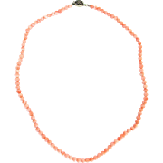 Vintage Chinese Coral Bead Necklace Angel Skin Strand