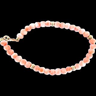 """Vintage Chinese Coral Bead Bracelet Angel Skin 14K Gold Filled 7.5"""""""