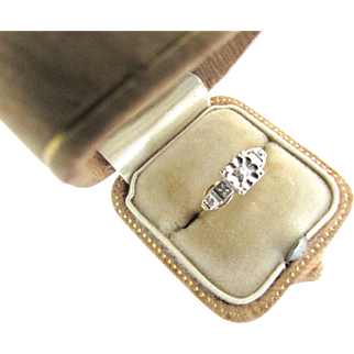 14K Yellow Gold Diamond Art Deco Engagement Promise Ring Size 7