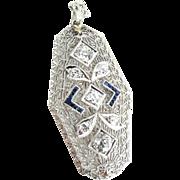 Art Deco 14K White Gold Filigree Diamond Sapphire Pendant Brooch