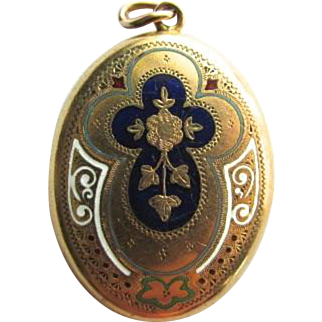 14K Gold Victorian Enamel Mourning Locket Pendant
