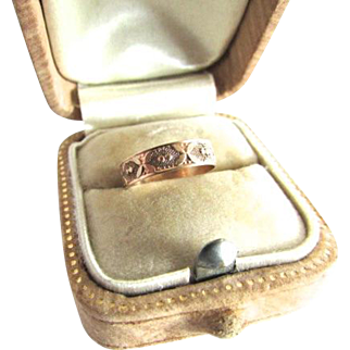Victorian 10K Rose Gold Cigar Band Baby Midi Ring