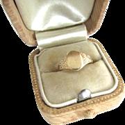 Edwardian 10K Yellow Gold Signet Ring Baby Size 3 Midi No Monogram Child