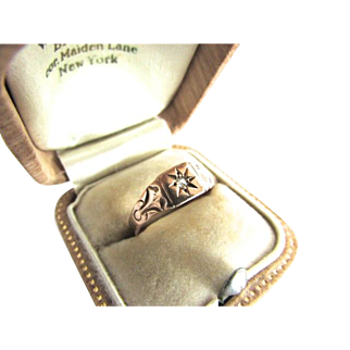 Victorian 10K Gold Diamond Gypsy Ring Band