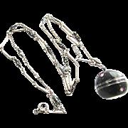 Art Deco Black Enamel Silver Bucherer Ladies Ball Watch Pendant Station Chain Necklace
