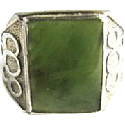 Art Deco Mens Sterling Silver Green Quartz Agate Ring American Size 11